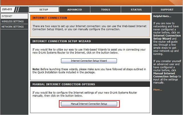 Internet-Manual Internet Connection Setup
